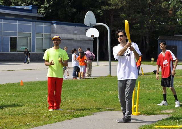 Teaching cricket to youth in Flemingdon Park  Image courtesy of Valley Park Go Green