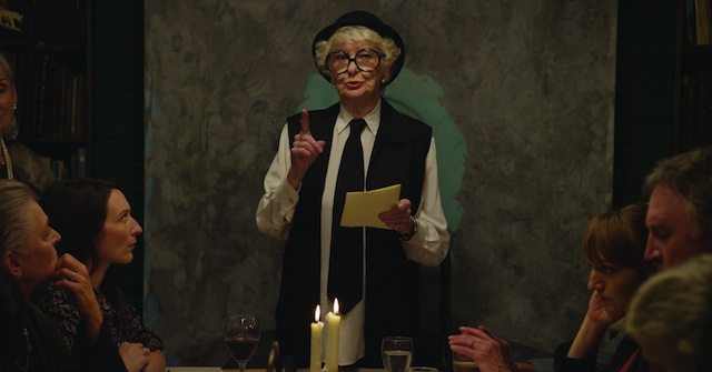 A still of actress Elaine Stritch in Matthew Barney's River of Fundament