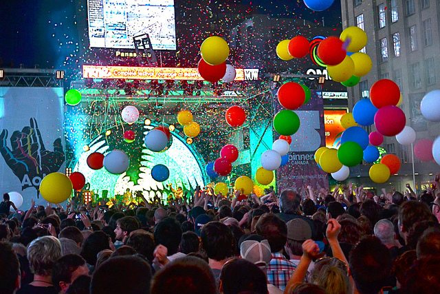 The Flaming Lips play Yonge-Dundas Square at NXNE 2012. Photo by Cameron McLellan from the Torontoist Flickr pool.