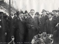 Tommy Church speaking at the turning of the sod for the Bloor Viaduct, January 16, 1915. Toronto Public Library.