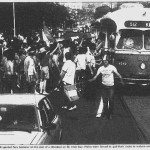 Italian fans celebrate on St. Clair Avenue West.  The Toronto Sun, July 6, 1982.