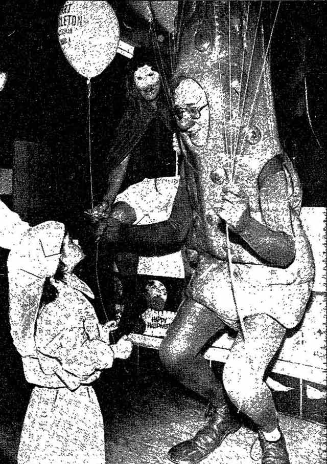 """No Sourpuss"" was the caption used for this picture of Art Eggleton dressed as a pickle for Halloween during the 1978 municipal election campaign  Photo by Dick Darrell, the Toronto Star, November 1, 1978"