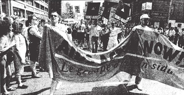 Photo from 1989 Pride parade by Tony Bock, Toronto Star, June 26, 1989