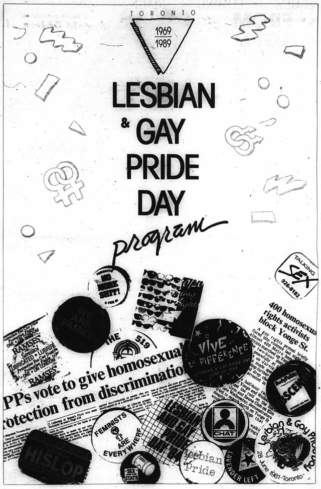 Cover of Lesbian and Gay Pride Day program, Xtra, June 16, 1989