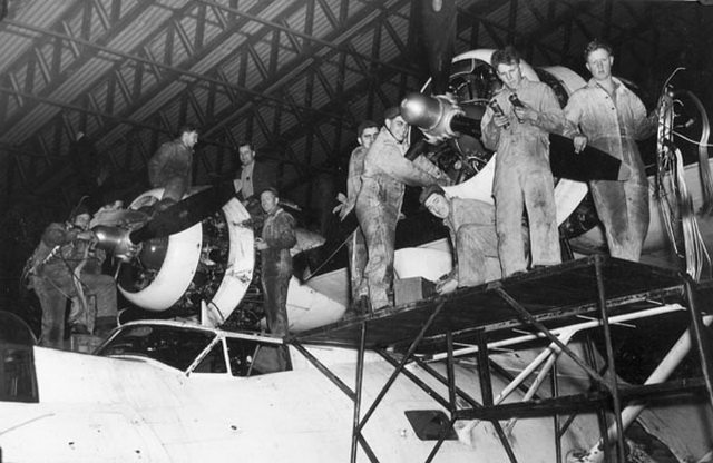 Ground crew servicing Canso A aircraft 9739 of No 162 Squadron, R C A F  in Reykjavik, Iceland, September 8, 1944  From the  Library and Archives Canada (e005176199)