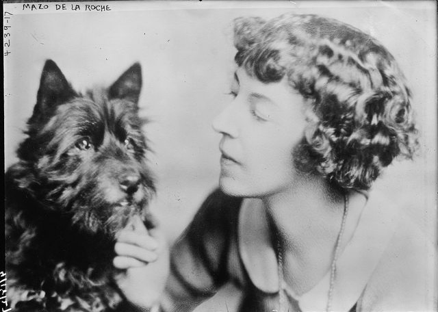 Mazo De La Roche and her dog Bunty, no date  From the George Grantham Bain Collection at the Library of Congress (LC B2  4239 17)
