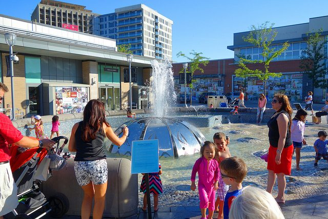 The splash pad at the Shops at Don Mills, one of Toronto's many privately owned public spaces. Photo by kaeko, from the Torontoist Flickr Pool