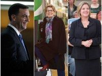 Photo of Tim Hudak by Christopher Dart. Photos of Kathleen Wynne and Andrea Horwath from their  respective Facebook pages.