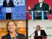 Photos of Tim Hudak and Kathleen Wynne by Christopher Drost. Photo of Andrea Horwath courtesy of the Ontario NDP. Photo of Mike Schreiner from his Facebook page.