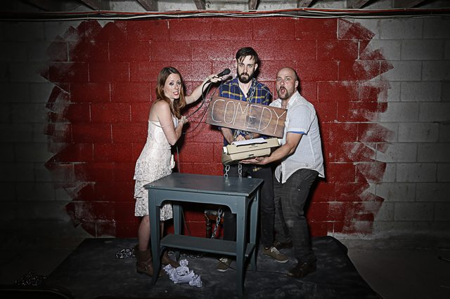 From left to right, Caitlin Driscoll, Colin Much, and Tim Walker star in Theatre Brouhaha's production of Kat Sandler's Punch Up  Photo by Zaiden