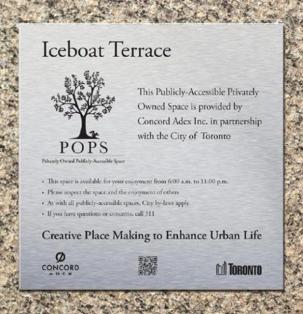 Example the current signage that will be used for future POPS  Image courtesy of the City of Toronto Planning Department (via Urban Toronto)