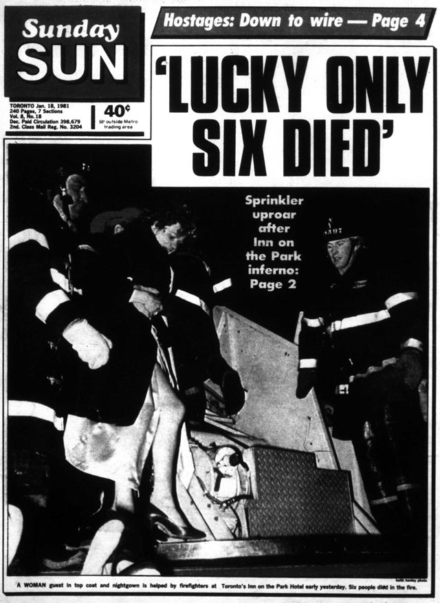 Front page, the Toronto Sun, January 18, 1981