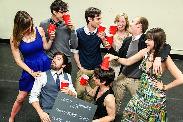 The young lovers of Love's Labour's Lost from left to right: Sheelagh Darling, Jeff Hanson, Andrew Gaboury, Jesse Nerenberg, Suzette McCanny, Hallie Seline, Joshua Browne, and Catherine Rainville  Photo by Jesse Griffiths and Kyle Purcell