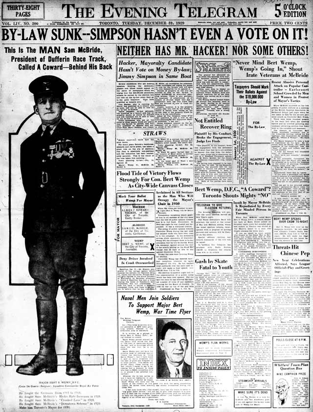 Front page, the Telegram, December 31, 1929