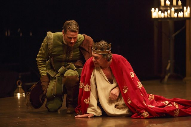 Graham Abbey as Philip, the Bastard and Tom McCamus as King John in Tim Carroll's King John  Photo by David Hou