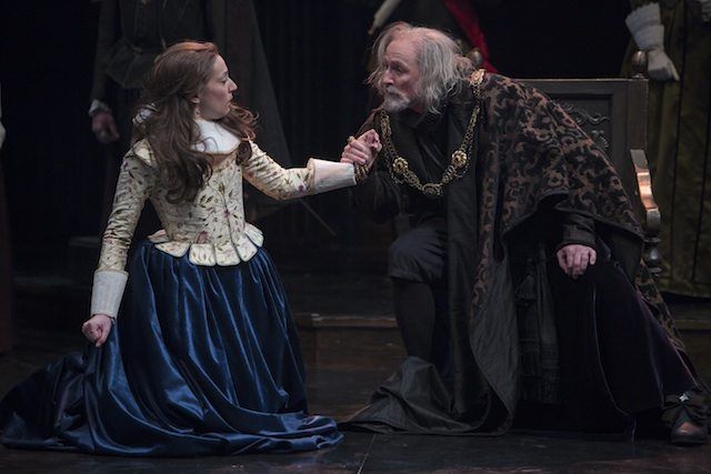 Sara Farb as Cordelia and Colm Feore as King Lear in Antoni Cimolino's King Lear  Photo by David Hou