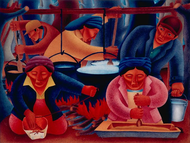 Patrick DesJarlait, Maple Sugar Time, 1946. Philbrook Museum of Art, Tulsa. Image courtesy of the Art Gallery of Ontario.