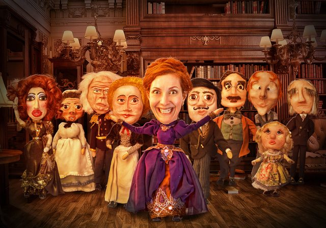 Tara Travis (centre) manipulated 10 different puppets in Who Killed Gertrude Crump? Photo by Jim Travis, design by Kurt Firla