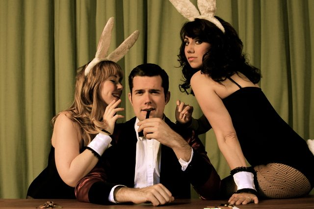 Left to Right, Lana Sugarman, Daniel Abrhamson, & Jennifer Walls appear in a biographical musical about the Playboy founder in Hugh & I  Photo by Kevin McGarry