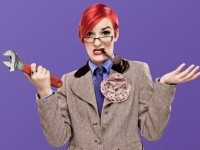Nerd Girl Burlesque's Loretta Jean as Professor Plum. Detail of a photo by Mopo Art.
