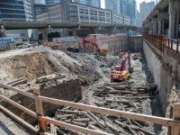 The end of Tinning's Wharf seems to have been uncovered at the Ten York dig. Photo by Jack Landau.