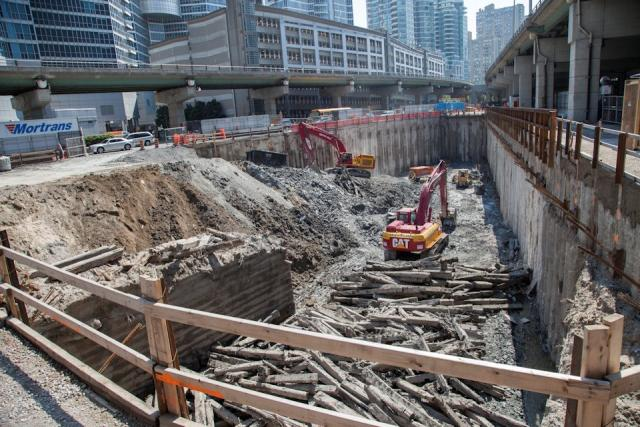 The end of Tinning's Wharf seems to have been uncovered at the Ten York dig  Photo by Jack Landau