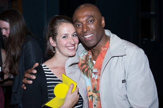 """""""Actor Conrad Coates (right) with He Left Quietly director Leora Morris, at the closing night SummerWorks awards  Photo by Dahlia Katz/Summerworks """""""