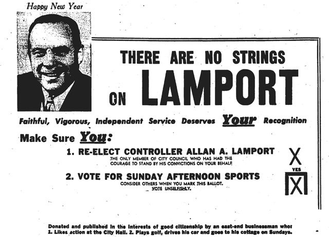 Advertisement, the Globe and Mail, January 2, 1950