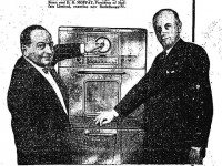 Hans Fread showing off the RadaRange microwave used at Sign of the Steer. Advertisement, the Toronto Star, November 24, 1955.