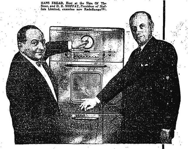Hans Fread showing off the RadaRange microwave used at Sign of the Steer  Advertisement, the Toronto Star, November 24, 1955