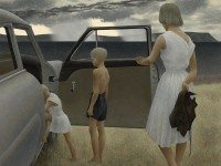 Alex Colville. Family and Rainstorm, 1955. On loan from the National Gallery of Canada. © A.C.Fine Art Inc. Courtesy of the Art Gallery of Ontario.