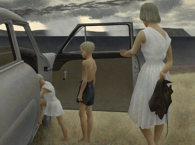Alex Colville  Family and Rainstorm, 1955  On loan from the National Gallery of Canada  © A C Fine Art Inc  Courtesy of the Art Gallery of Ontario