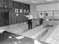 Ballot box preparation, Township of North York office at 5000 Yonge Street, 1964. City of Toronto Archives, Fonds 217, Series 249, File 261, Item 1.