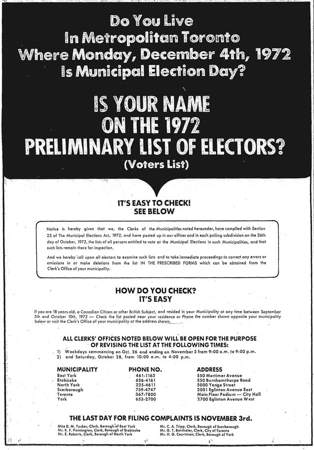 Advertisement, the Toronto Star, October 26, 1972