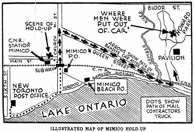 Diagram of the robbery from the Toronto Star (March 4, 1929)