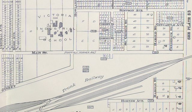 Detail of the 1910 Goad's Map, showing the vicinity of the Mimico mail robbery  From the Toronto Public Library's Digital Collection