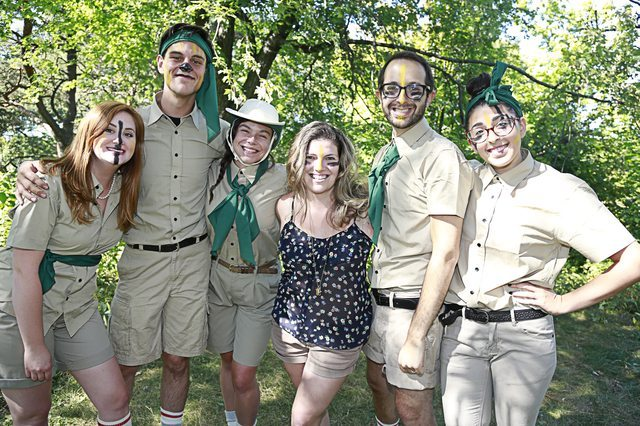 Playwright Kat Sandler (centre) with the cast of Retreat, left to right: Nicole Buscema, Justin Goodhand, Kat Letwin, Michael Musi, and Mara Zigler.