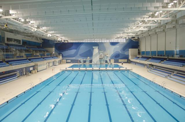 Competition pool at the Aquatics Centre and Field House  Photo by Stephanie Calvet
