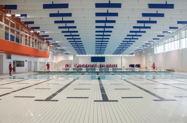 Training pool at the Aquatics Centre and Field House with its movable floor  Photo by Stephanie Calvet