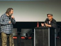 Dan Harmon and Bobcat Goldthwait. Photo by John Barduhn.