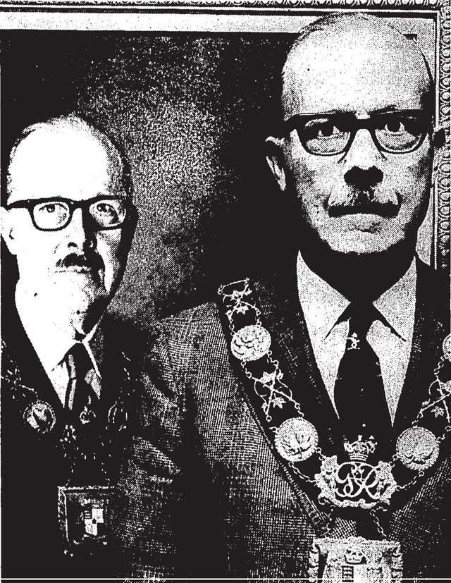 William Dennison and his City Hall portrait, painted by Louis Kay  Photo by Tibor Kelley, the Globe and Mail, October 15, 1971