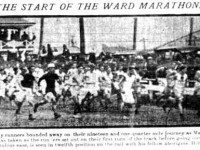 Runners leaving the CNE Grandstand.  The Globe, October 12, 1908.