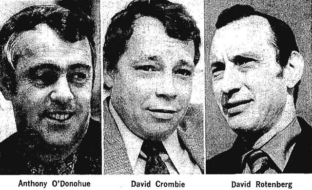 The three main mayoral contenders  Globe and Mail, September 15, 1972