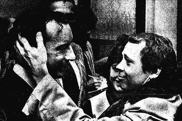 """Still friends after campaign, loser David Rotenberg and winner David Crombie are near tears at Rotenberg's headquarters "" Photo by Doug Griffin, Toronto Star, December 5, 1972"