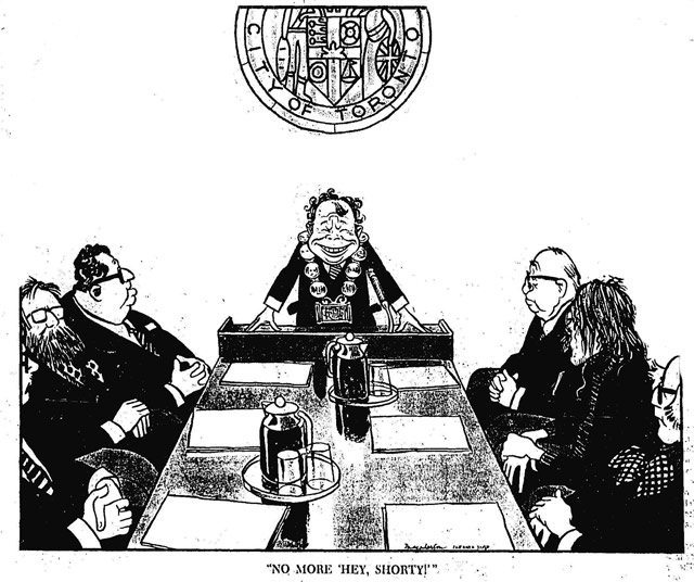 Cartoon by Duncan Macpherson, Toronto Star, December 5, 1972  Clockwise from left: Dan Heap, Joe Piccininni, David Crombie, possibly Fred Beavis, John Sewell, William Kilbourn