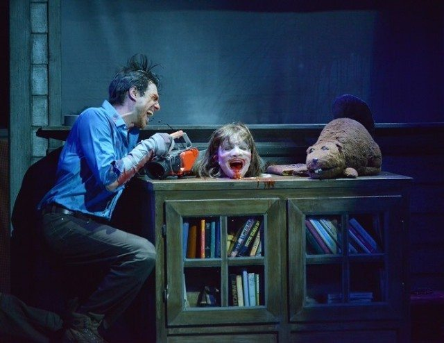 David Sajewich takes a chainsaw to a Candarian demon in Evil Dead the Musical  Photo by David Coombs