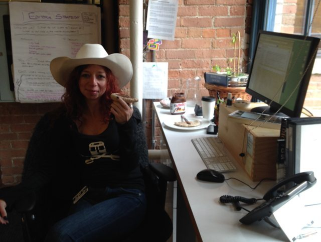 We got the cowboy hat in some long forgotten PR package  Worn on very good and very bad days—it works in both cases  (Photo by Ken Hunt )
