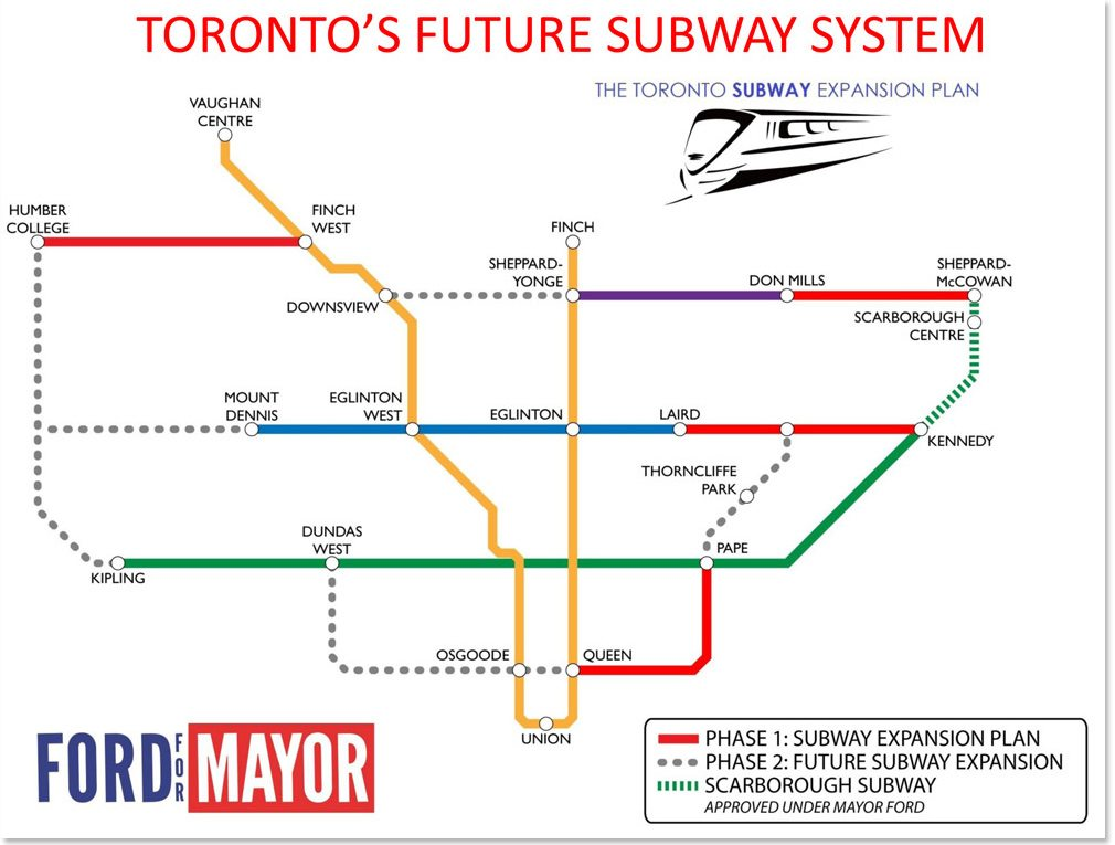 Toronto Ttc Subway Map.The Ford Family Subway Plan