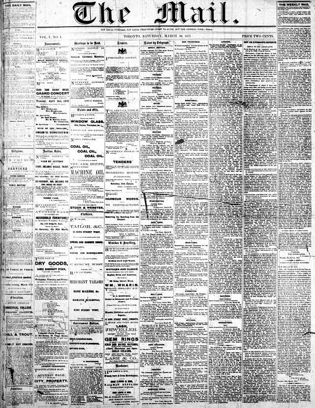 Front page of the Mail, March 30, 1872