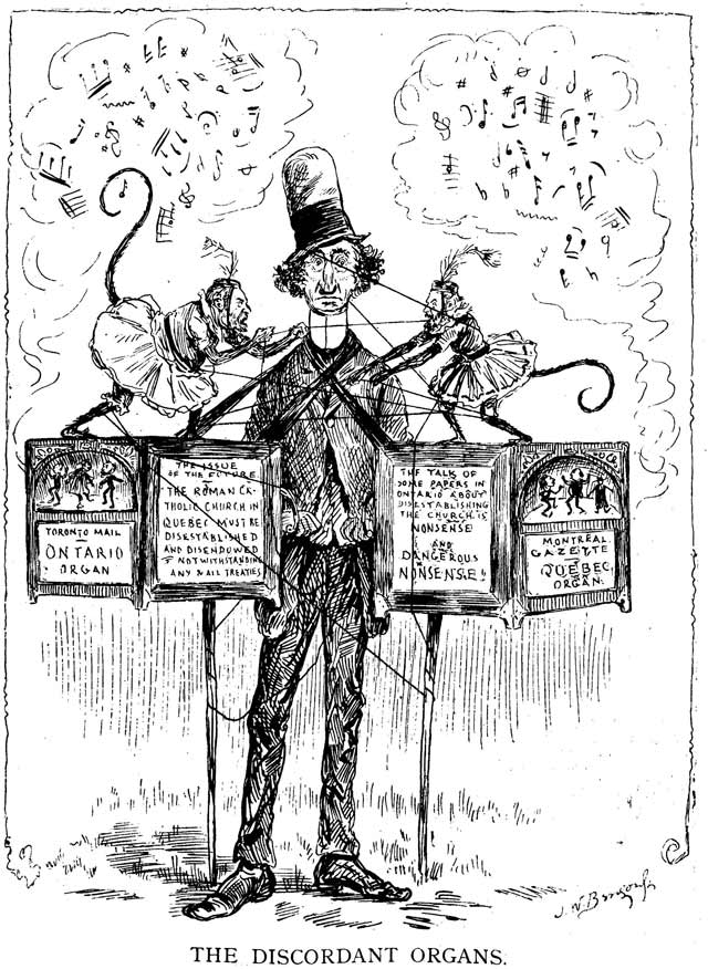 Cartoon by J W  Bengough, Grip, September 11, 1886  The monkey on the left is either C W  Bunting or Edward Farrer